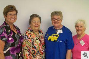 2012-2013 Board: Barb Potter-Vice-President; Peg Birzer-Secretary; Kathy Geske-President; Gwen Auel-Reporting Treasurer. Not pictured: Rosemary Rogers-Treasurer.